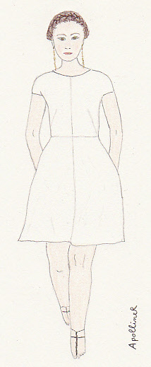 drawing of a Valentino white dress