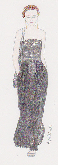 drawing of a Valentino black dress